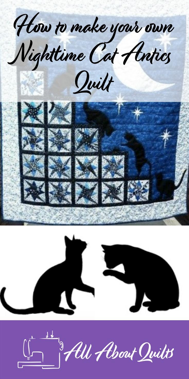 Nightime cat antics quilt