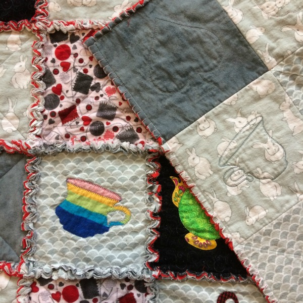 Front & back of finished rag quilt