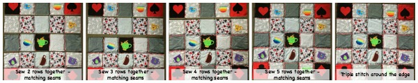 Collage of sewing rows together