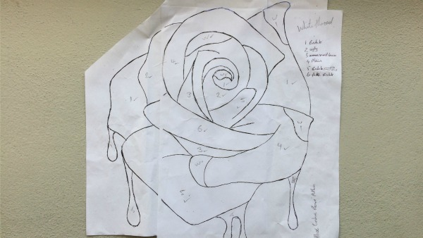 Applique rose pattern