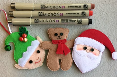 Felt decorations embellished using permanent fabric pens