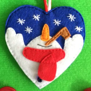 Snowman in a Heart felt Christmas decoration