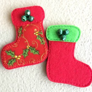 Felt Christmas stocking made from felt and fabric