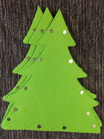 3D felt Christmas tree back view