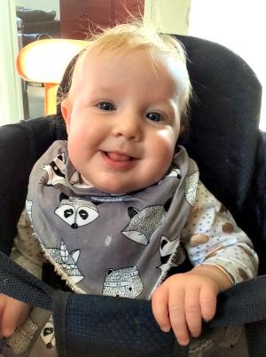 Baby wearing bandana baby bib