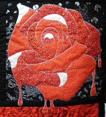 Alice in Wonderland applique red rose