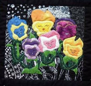 Alice in Wonderland applique Pansies