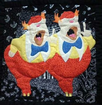 Alice in Wonderland applique Tweedle Dum & Tweedle Dee
