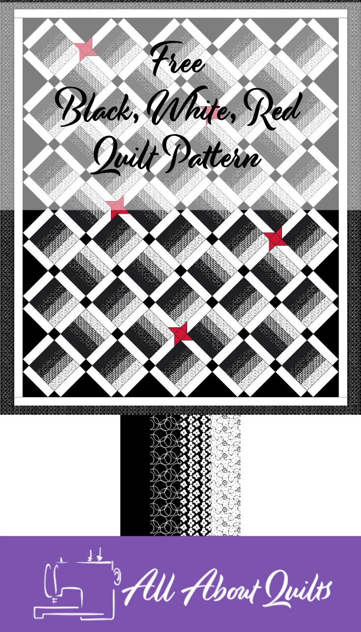 Free Black, White, Red quilt pattern