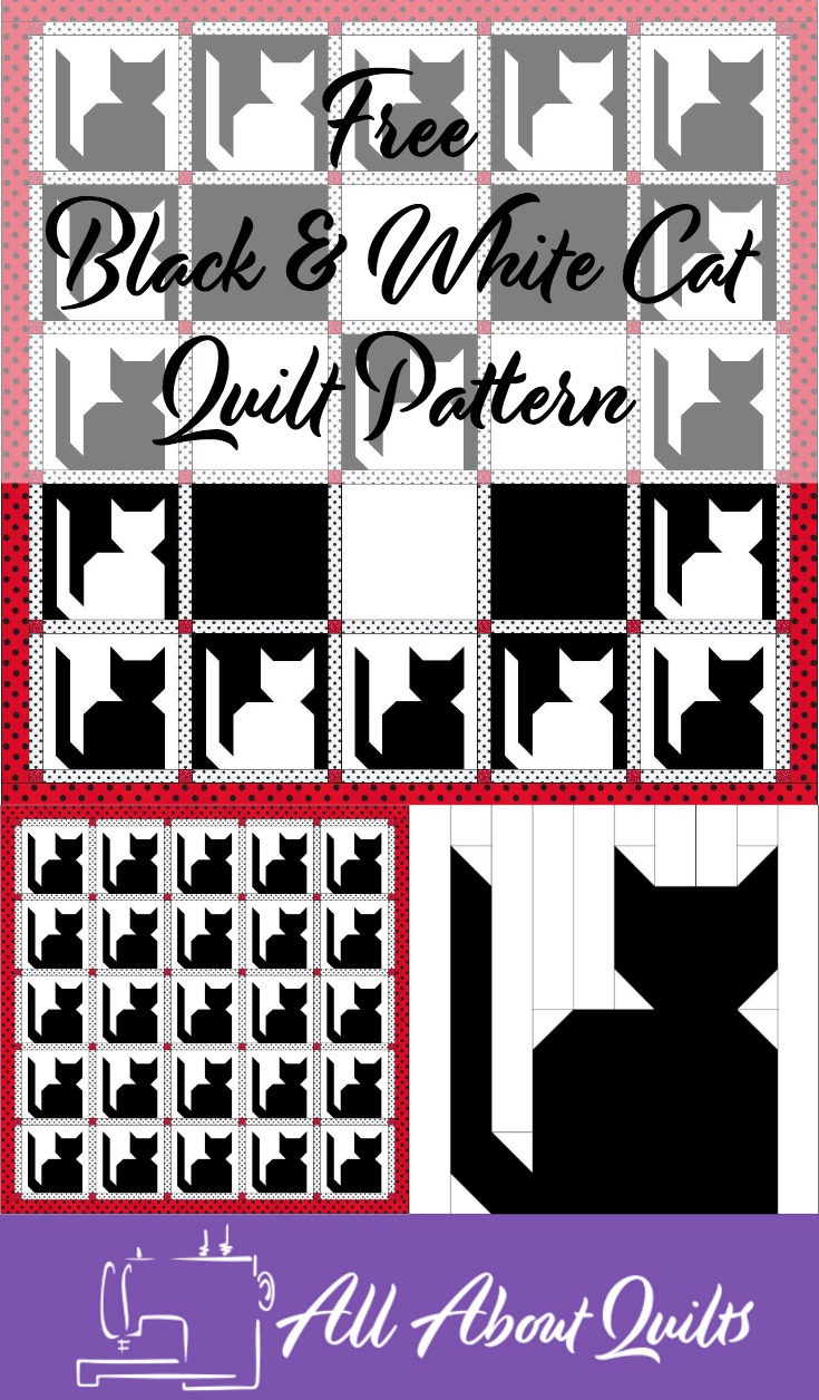 Free Black and White Cat quilt pattern