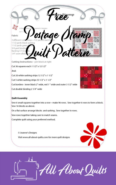 Free Postage Stamp quilt pattern