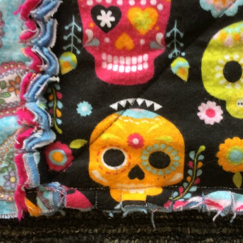 Close up of rag quilt edge before tidying
