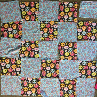 Layout of bottom layer of flannel rag quilt