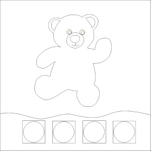 Baby busy book Super Ted line drawing