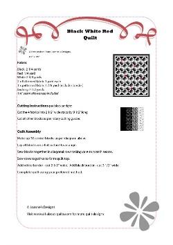 Black White Red Quilt Pattern