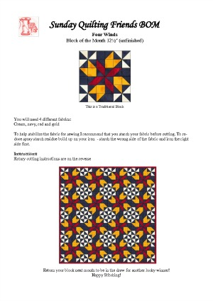 To BOM Four Winds Block Sheet