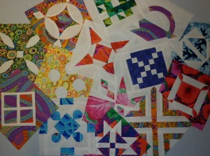 A selection of Dear Jane quilt blocks