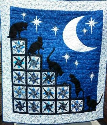 Nighttime Cat Antics Quilt