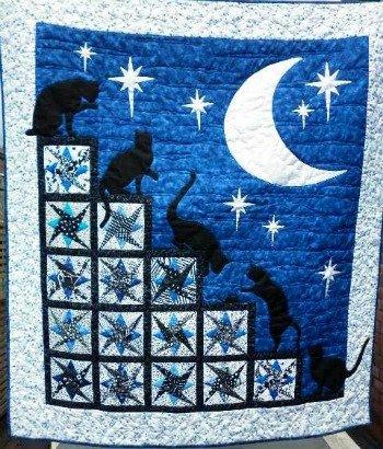 Nighttime Cat Antics Cot Quilt