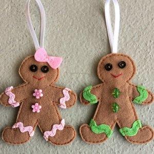 Felt gingerbread man hanging decoration
