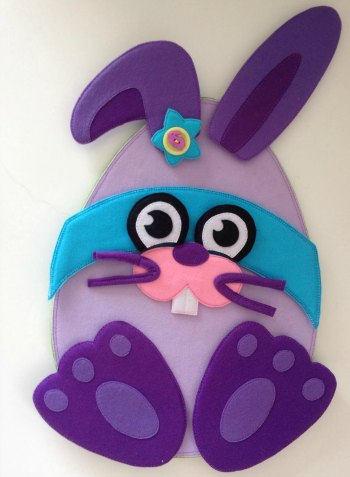 Felt Easter Super Bunny made by Bella and her mum