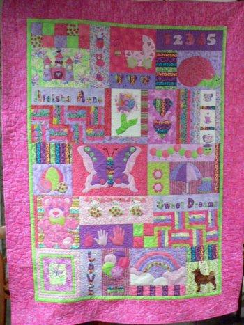 Pink child's quilt