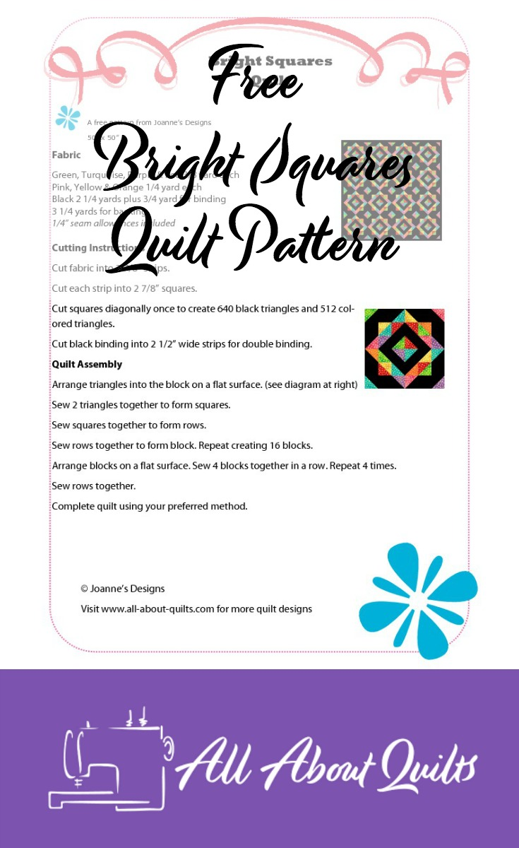 Free Bright Squares quilt pattern
