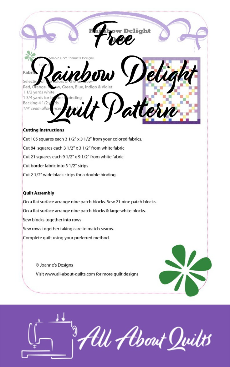 Free Rainbow Delight quilt pattern