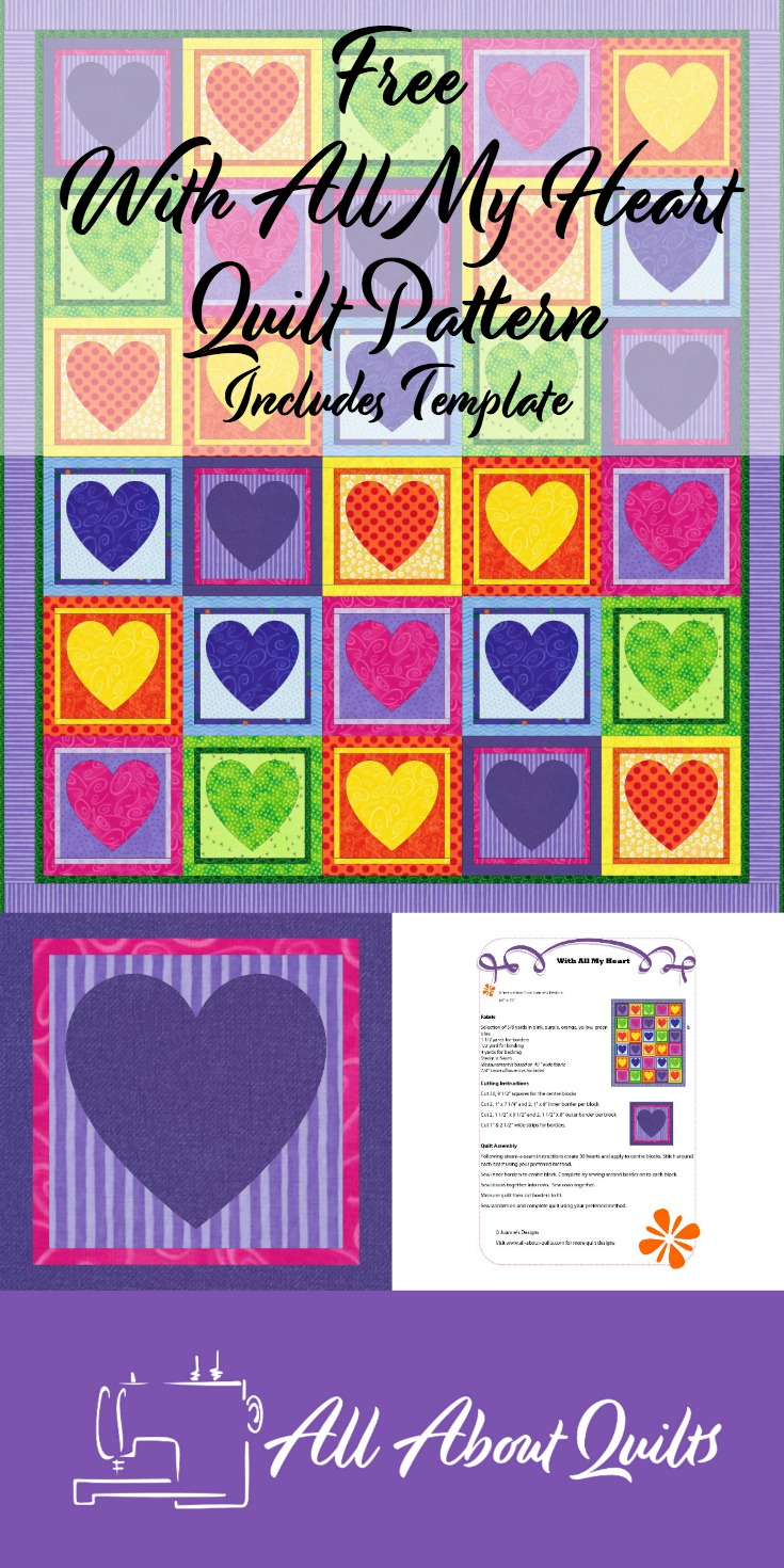 With all my Heart free quilt pattern