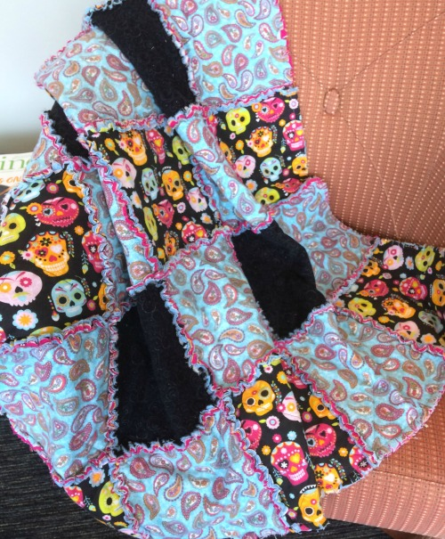 Sugar skulls flannel quilt
