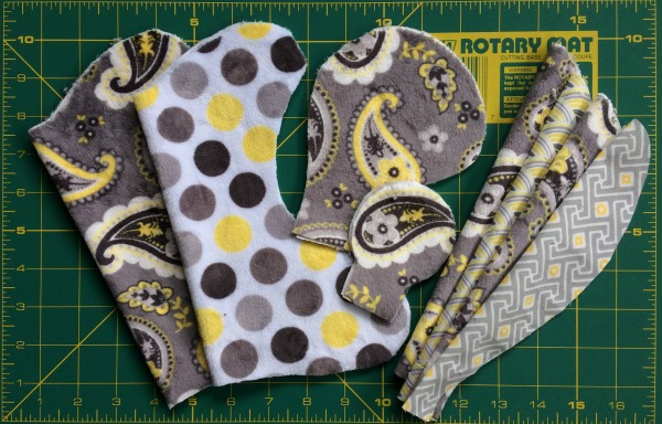 Fabric pattern pieces cut out