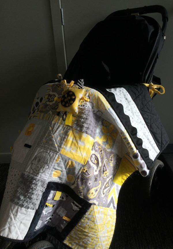Taggie Blanket as a pram cover