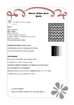 Black White Red Quilt Pattern
